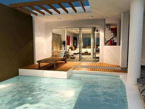 Dise o de casas playa estilo r stico terrazas piscinas for Diseno de piscinas para casas de campo