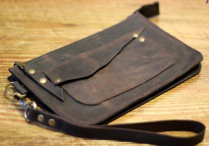 ab5173805066 сшитый своими руками мужской коричневый клатч из натуральной кожи ...
