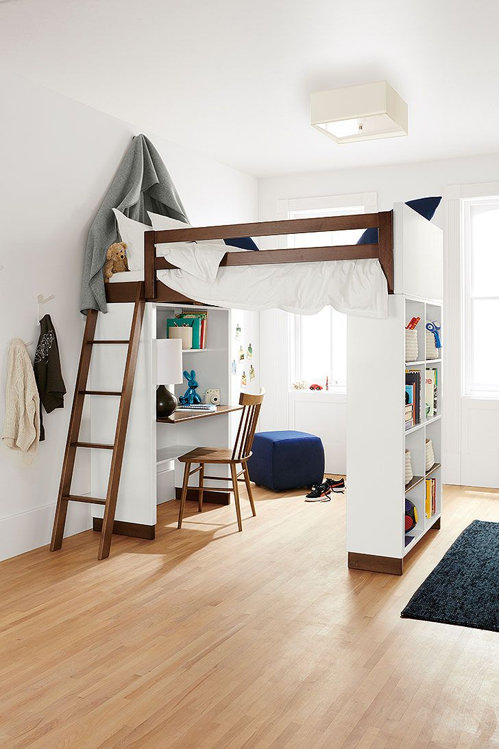 Low loft bed with desk and dresser  KidFriendly Work Spaces  Desk space Lofts and Desks
