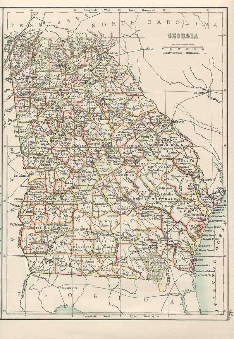 Map Of South Georgia Usa.Old Map Of Georgia Usa Maps In 2019 Georgia Usa Old Maps