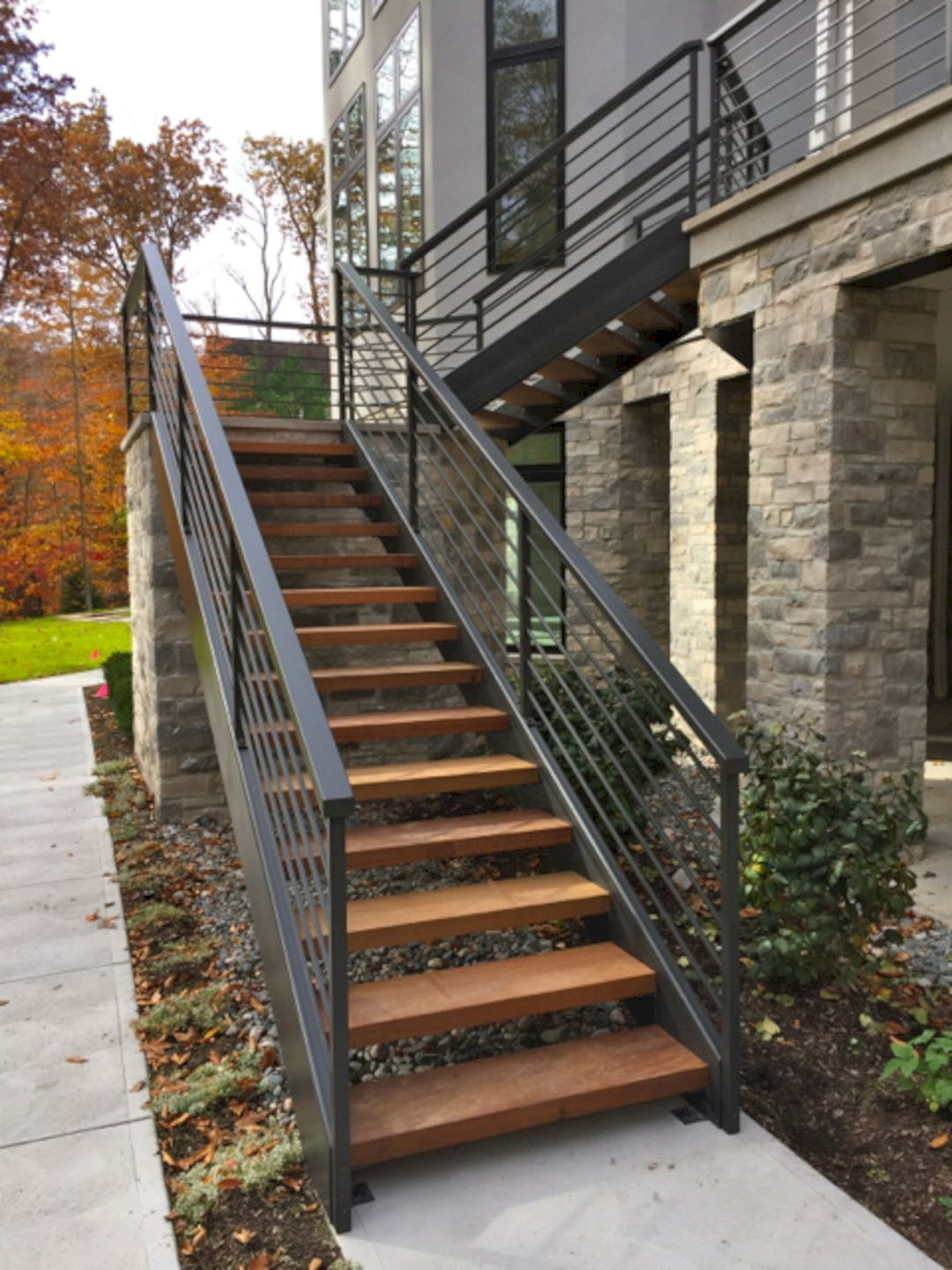 Epic 25 Marvelous Outdoor Stairway Ideas For Creative Home Design   Stairs Design Outside Home   Single   Steel   Length   Contemporary Exterior   Stairway Outside