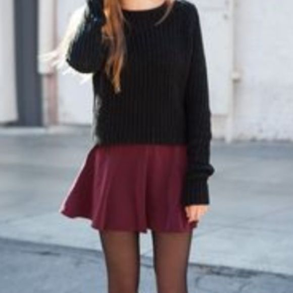Bundle of 2 Faux Suede Skater Skirts NWOT  maroon and black skirts Brandy Melville Skirts Mini