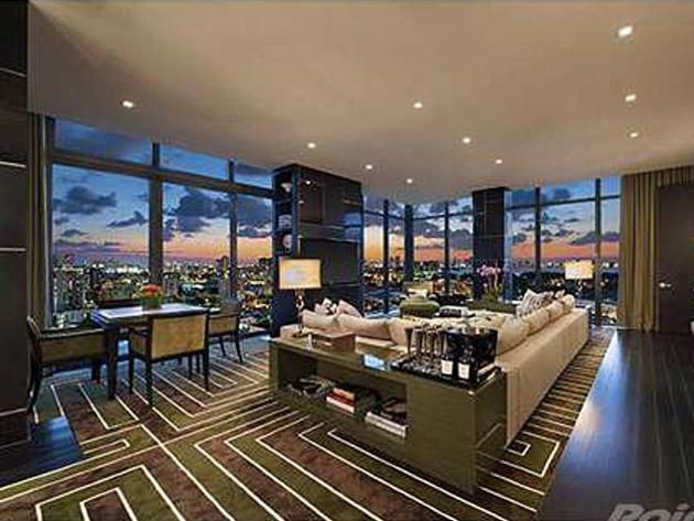 Living room waterfront penthouse in miami