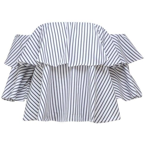 900e628db3bf Play Your Cards Stripe Off-the-Shoulder Top ( 28) ❤ liked on Polyvore  featuring off the shoulder flounce top