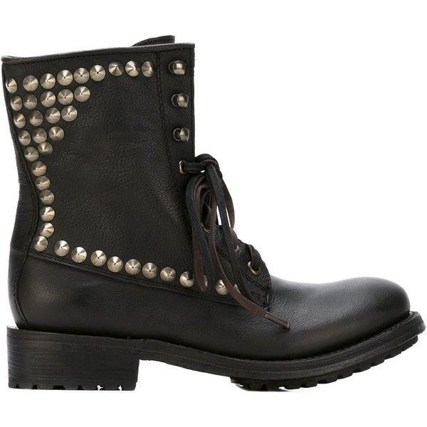 Ash Studded Lace-Up Boots ($332) ❤ liked on Polyvore featuring shoes, boots, black, front lace up boots, black lace up boots, black leather studded boots, studded boots and studded shoes