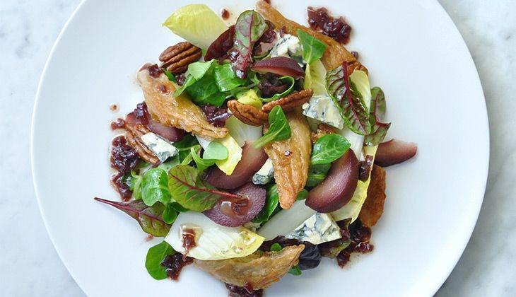 Salade met Stoofpeertjes en Kipstuckjes