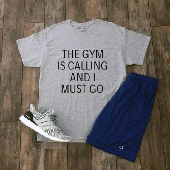 The Gym Is Calling And I Must Go Shirt  Inspirational Motivation Aesthetic Clothing Streetwear Workout Gift For Him Tumblr Clothing Shirt is part of Aesthetic Clothes Guys - 8  collar Taped neck and shoulders Doubleneedle sleeve and bottom hems Quarterturned to eliminate center crease (THE AUTHENTIC ITEMS USED IN THE PHOTOS ARE NOT INCLUDED IN YOUR PURCHASE) <<SIZE CHART>> (inches) SIZE   WIDTH   LENGTH   SLEEVE CENTER BACK   S   18   28   15 63   M   20   29   17    L   22   30   18 5   XL   24   31   20 TRENDYAESTHETICS QUALITY CHECKS EACH AND EVERY PIECE OF CLOTHING BEFORE SHIPMENT  PURCHASE WORRY FREE! High Quality The Gym Is Calling And I Must Go Unisex T Shirt High quality graphic 100% cotton Unisex truetosize sizing Sizes small, medium, large, and extra large THINKING ABOUT A DIFFERENT DESIGN  MESSAGE US AND WE CAN DESIGN ANY SHIRT, TANK, SWEATSHIRT, OR HOODIE YOU WANT!