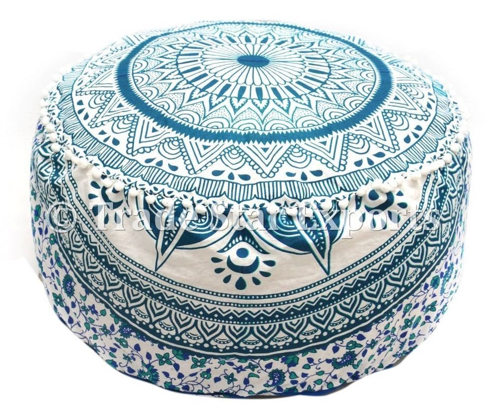 Home, Furniture & Diy Large Ombre Mandala Ottoman Pouf Ethnic Round Pouf Footstool Floor Pouf Cover And To Have A Long Life.
