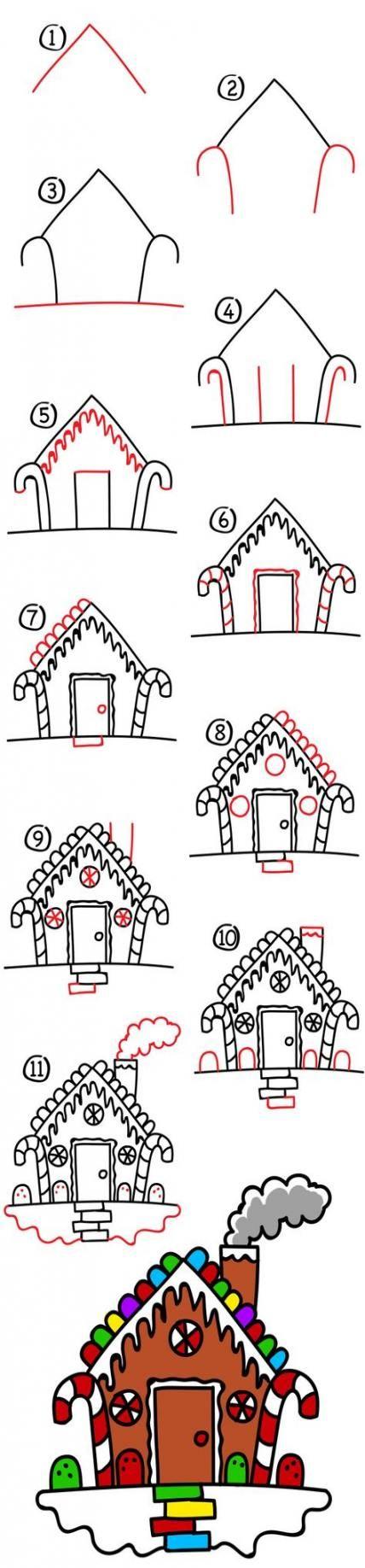 Drawing christmas house 38+ ideas | Art lessons for kids, Art for kids hub, Christmas doodles