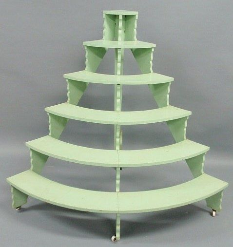 Six Tier Half Round Plant Stand With Green Paint Painted