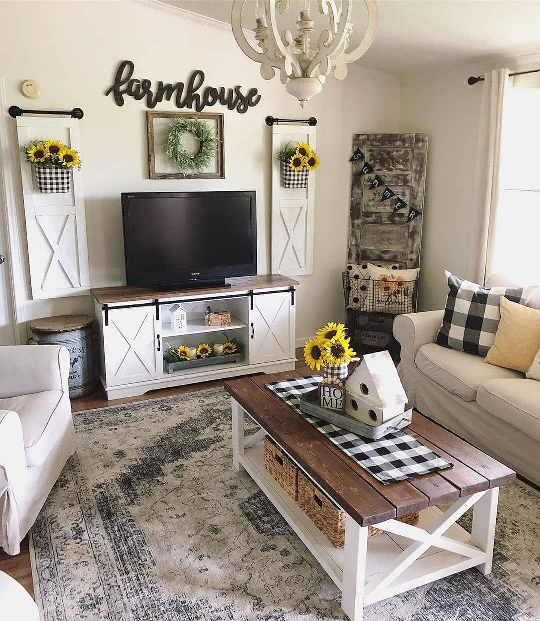 Farmhouse Charm On Instagram This Farmhouse Living Room I
