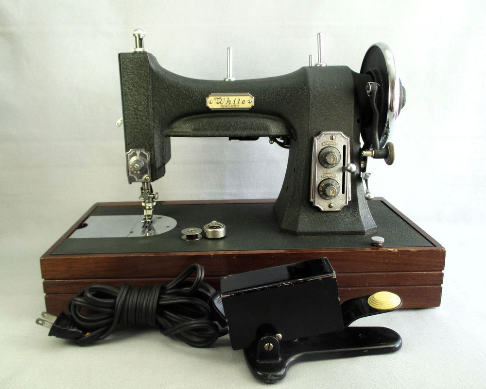 Vintage White Rotary Electric Sewing Machine w Foot Pedal