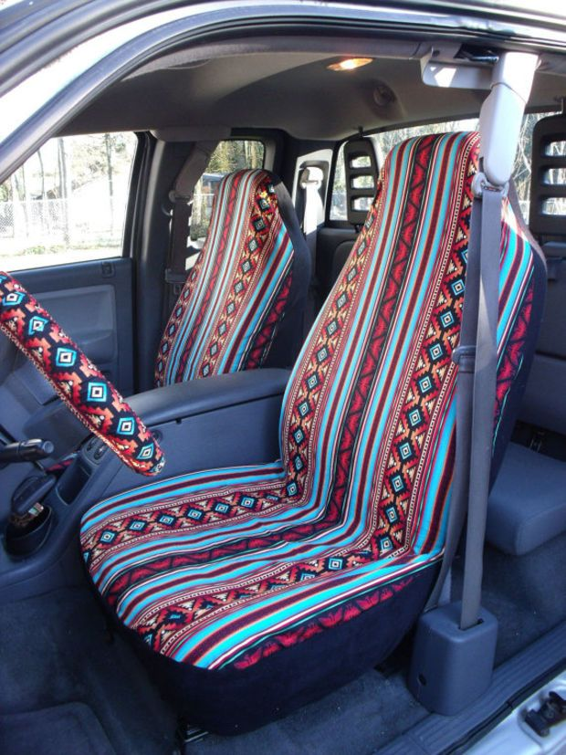 Reserve For Allebrean 1 Set Of Turquoise Rust Aztec Strip Print Seat Covers And The Steering Wheel Cover Custom Ordered By ChaiLinSews On Etsy