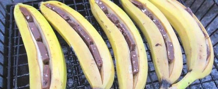 Banana assada com chocolate