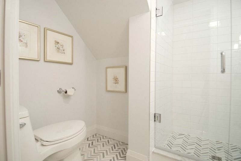 Glass Shower And Chevron Tile Floor, Income Property HGTV