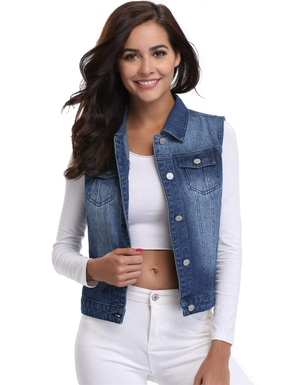 66a009ade41c MISS MOLY Clearance Jean Vest for Women Button Down Sleeveless Jean Jackets  with Pockets Dark BlueXL *** More info could be found at the image url.