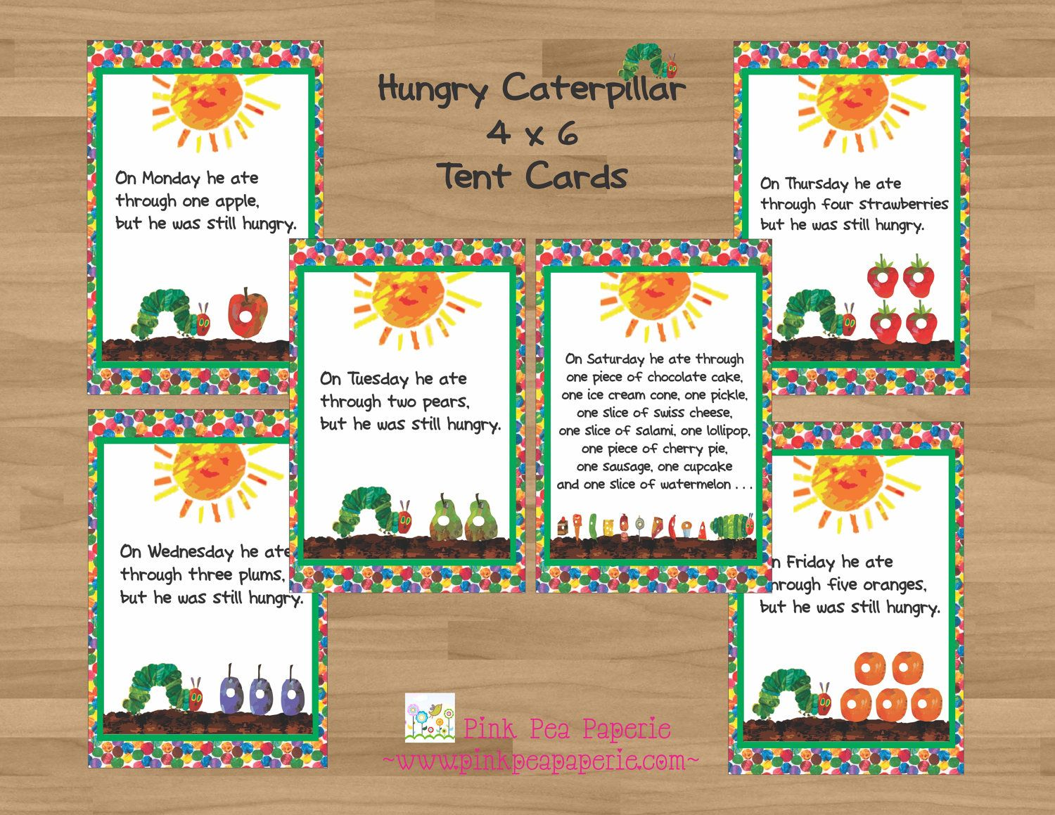 Printable VERY Hungry Caterpillar 4 x 6 Tent CardsFood Labels 6 – Hungry Caterpillar Birthday Card