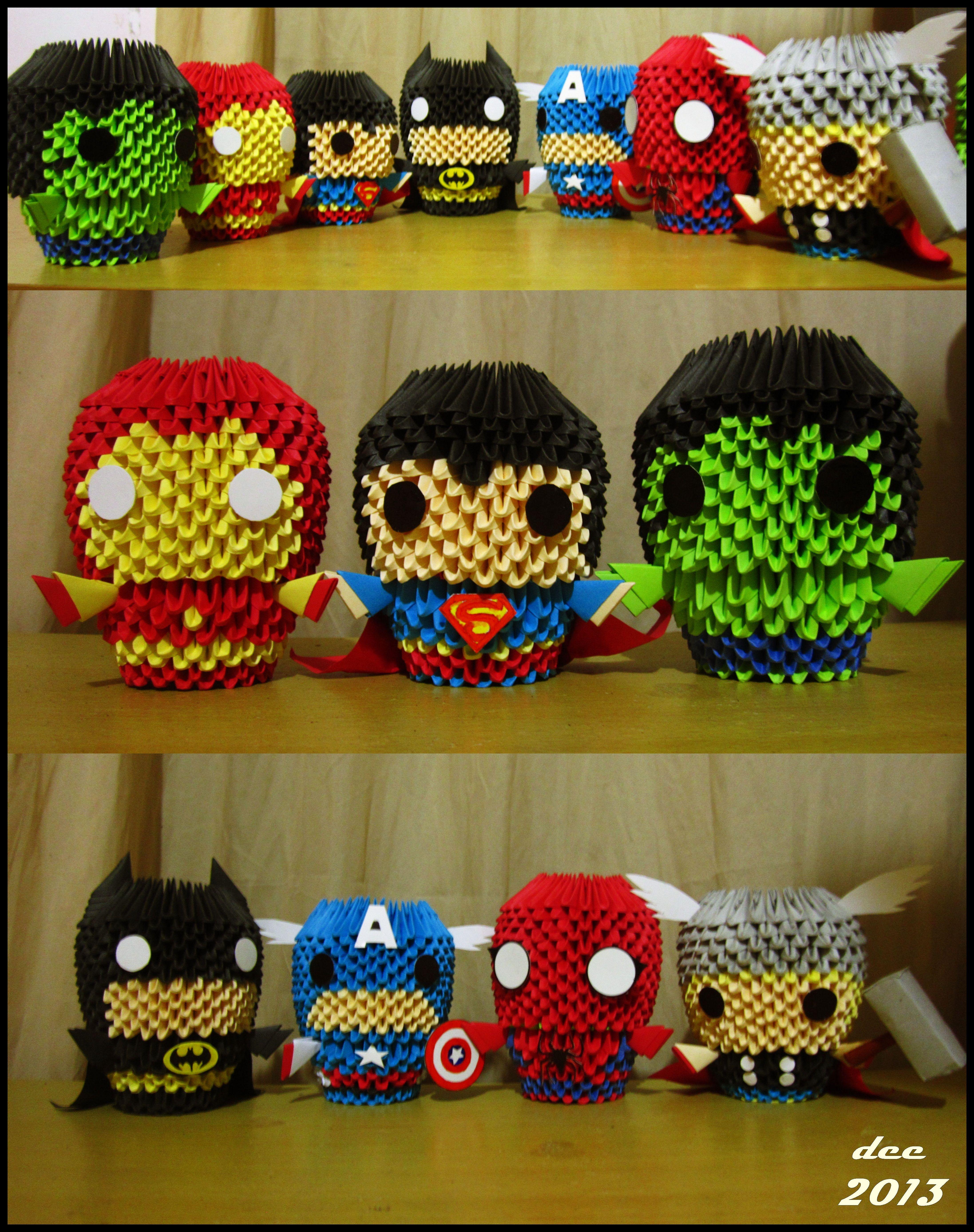 MARVEL Superheroes 3D Origami by deerexx.deviantart.com on ...