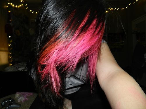 Hair In Black And Pink Hair Colors Ideas In 2020 Scene Hair Hair Color Pink Bright Hair Colors