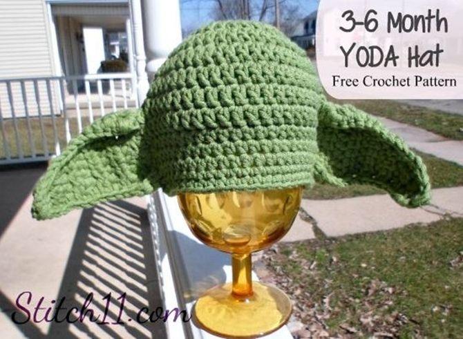 Crochet Yoda Hat Pattern Free-Newborn   hats   Pinterest