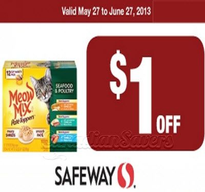 Safeway Canada Coupon 1 Off Meow Mix With Images Coupons Canada Canadian Coupons Printable Coupons