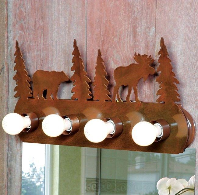surprising Cabin Vanity Light Part - 7: Moose u0026 Bear Vanity Light Fixture - 4 Light