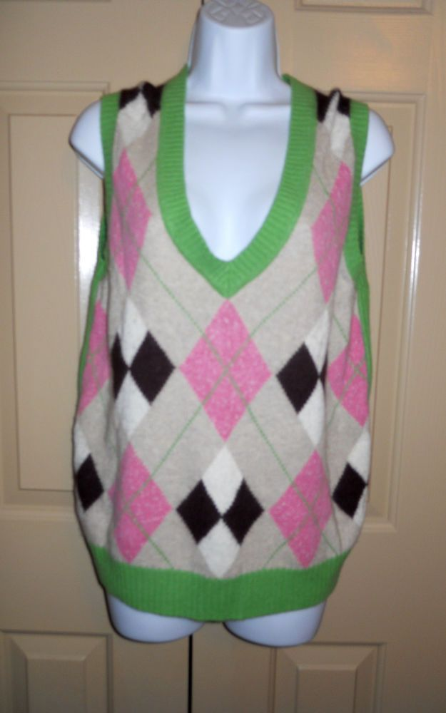 Lilly Pulitzer angora blend argyle sweater vest pink and green sz ...