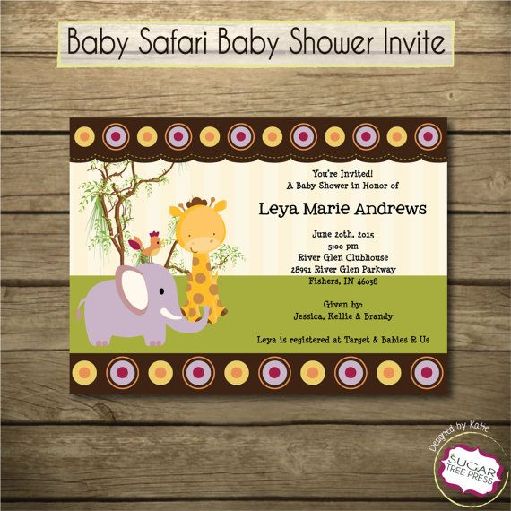 Printable jungle safari baby shower birthday invitation u print party invitations stopboris Image collections