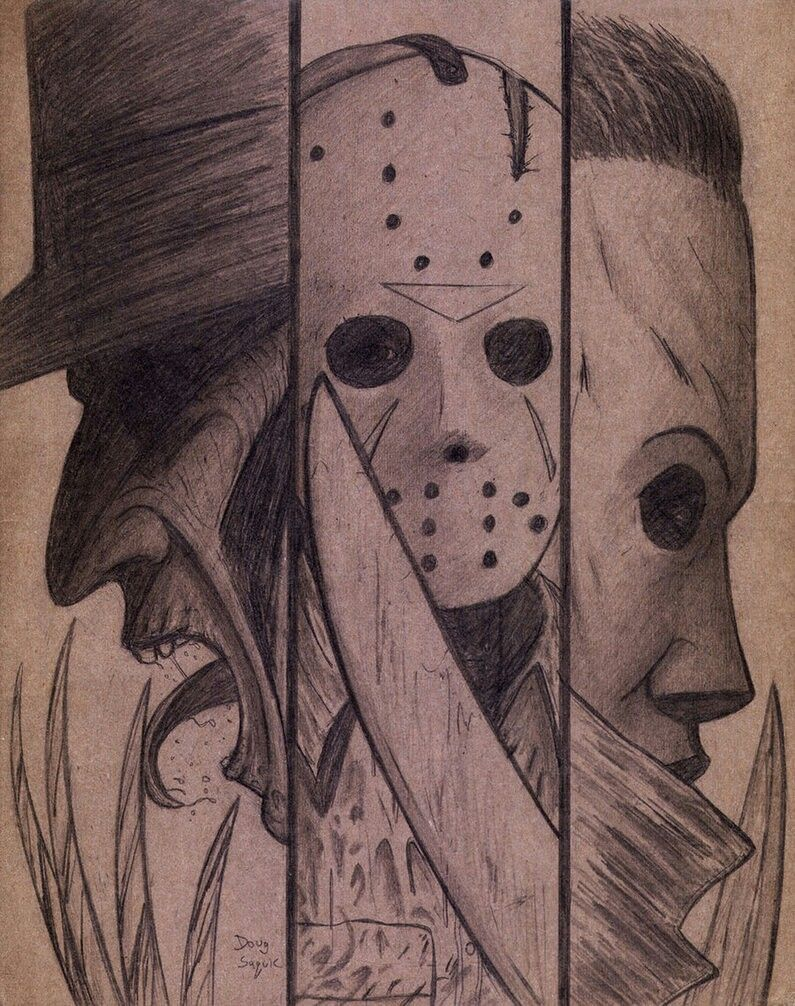 Fabulous Artistry You Captured The Essence Of These 80 S Iconic Killers Scary Drawings Creepy Drawings Scary Art