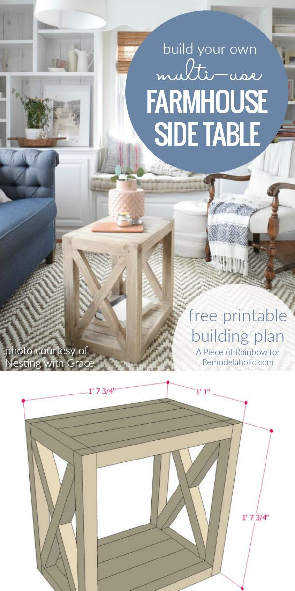 Diy Farmhouse Side Table Building Plan Build This Versatile Multi Use End To As A In The Living Room Or Bedsi