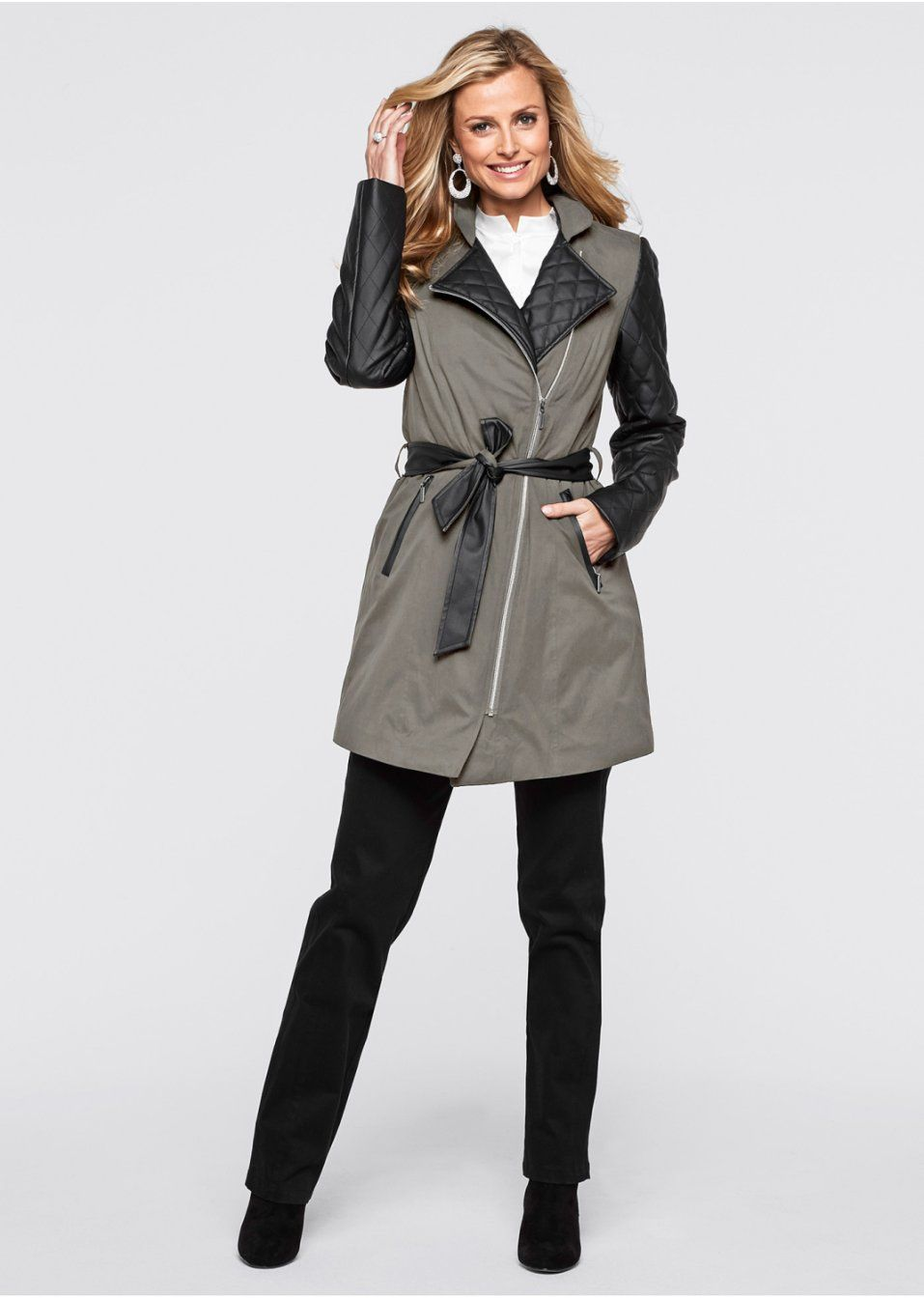 Veste Femme Bonprix, La veste longue gris pierre/noir - Ventes-pas-cher.com
