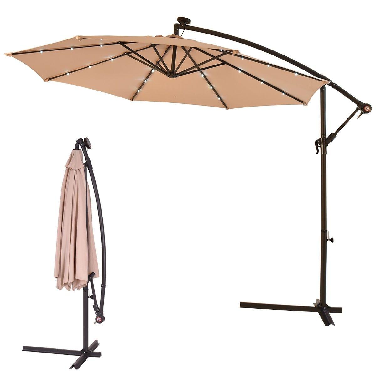 10 Patio Hanging Umbrella Sun Shade With Solar Led Lights Patio Umbrella Patio Patio Sun Shades