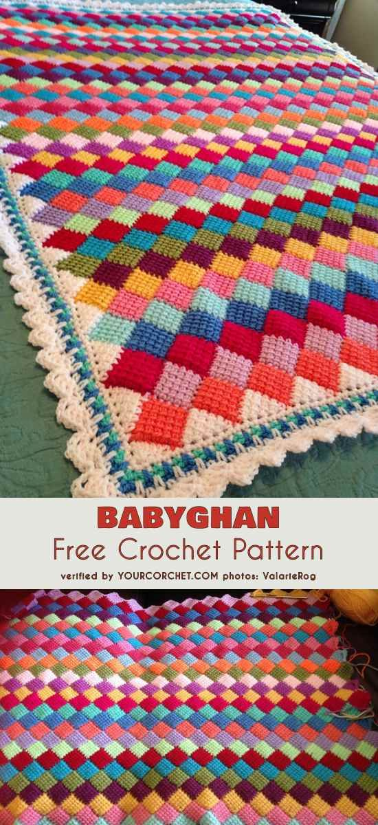 Babyghan Tunisian Crochet Entrelac Throw Free Crochet Pattern And
