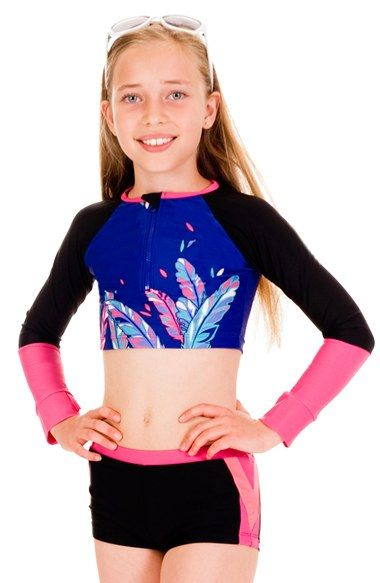 1ffccf5f38 Limeapple Two-Piece Crop Rashguard Swimsuit | Preteen Girls swimwear ...