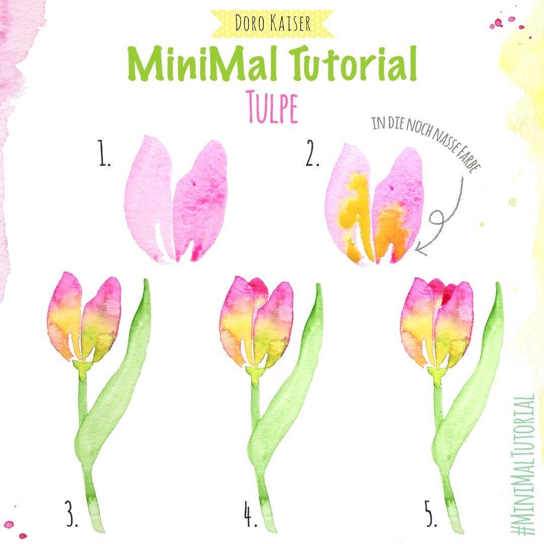 Minimal Tutorial Tulpen Malen Tulpen Aquarell Und Blumen Aquarell