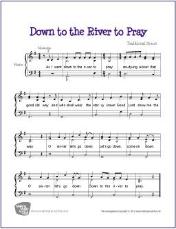 Down By The River To Pray With Images Easy Piano Sheet Music