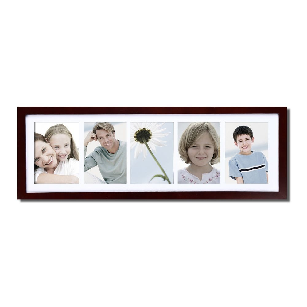 Adeco decor walnut color wood wall hanging picture photo frame adeco decor walnut color wood wall hanging picture photo frame with mat and five 5x7 jeuxipadfo Images