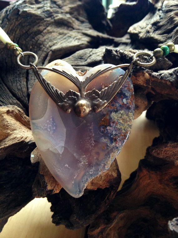 Heart shaped agate necklace with vintaj by HandmadeByValerieK