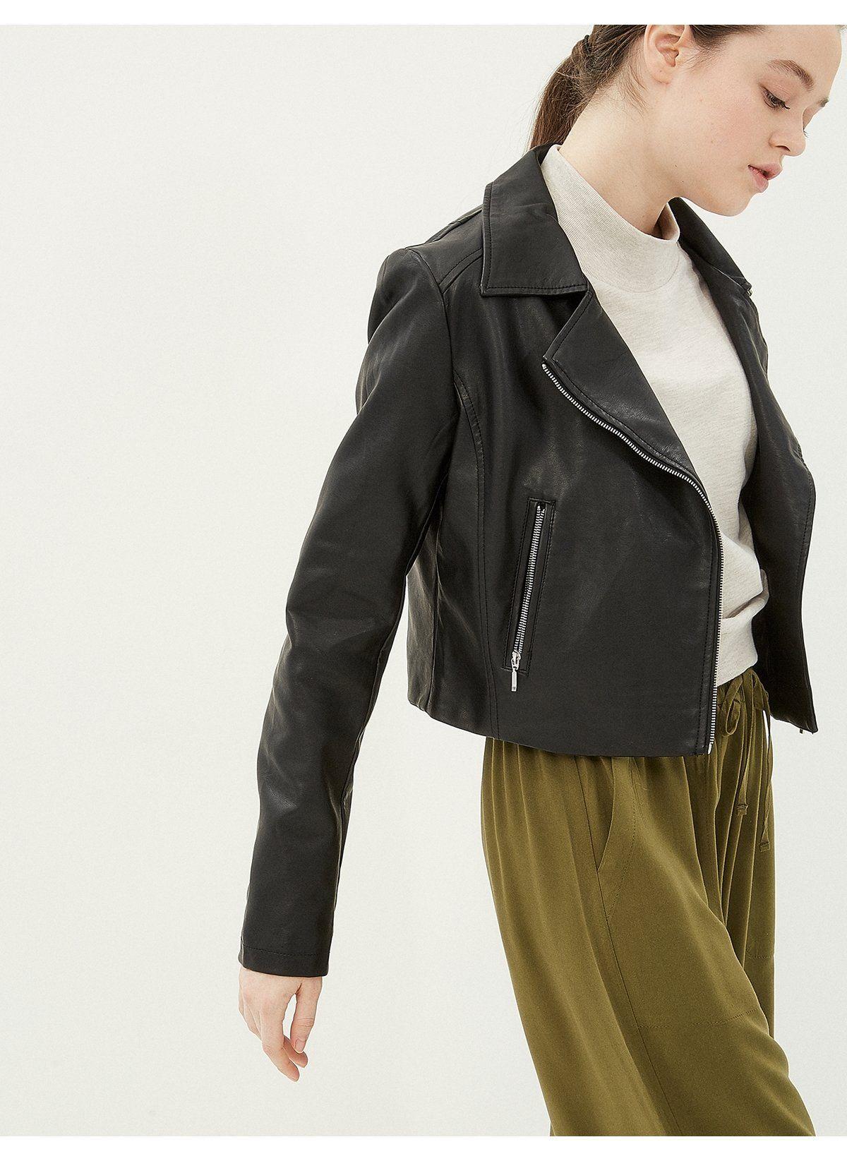 Koton Kadin Ceket Siyah Indirimli Fiyat Morhipo 21471899 Fashion Red Leather Jacket Leather Jacket