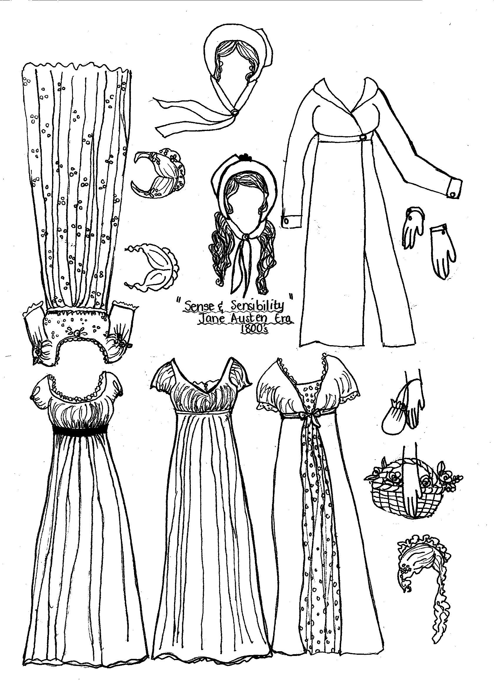 jane austen coloring pages - paper dolls jane austen dolls and regency
