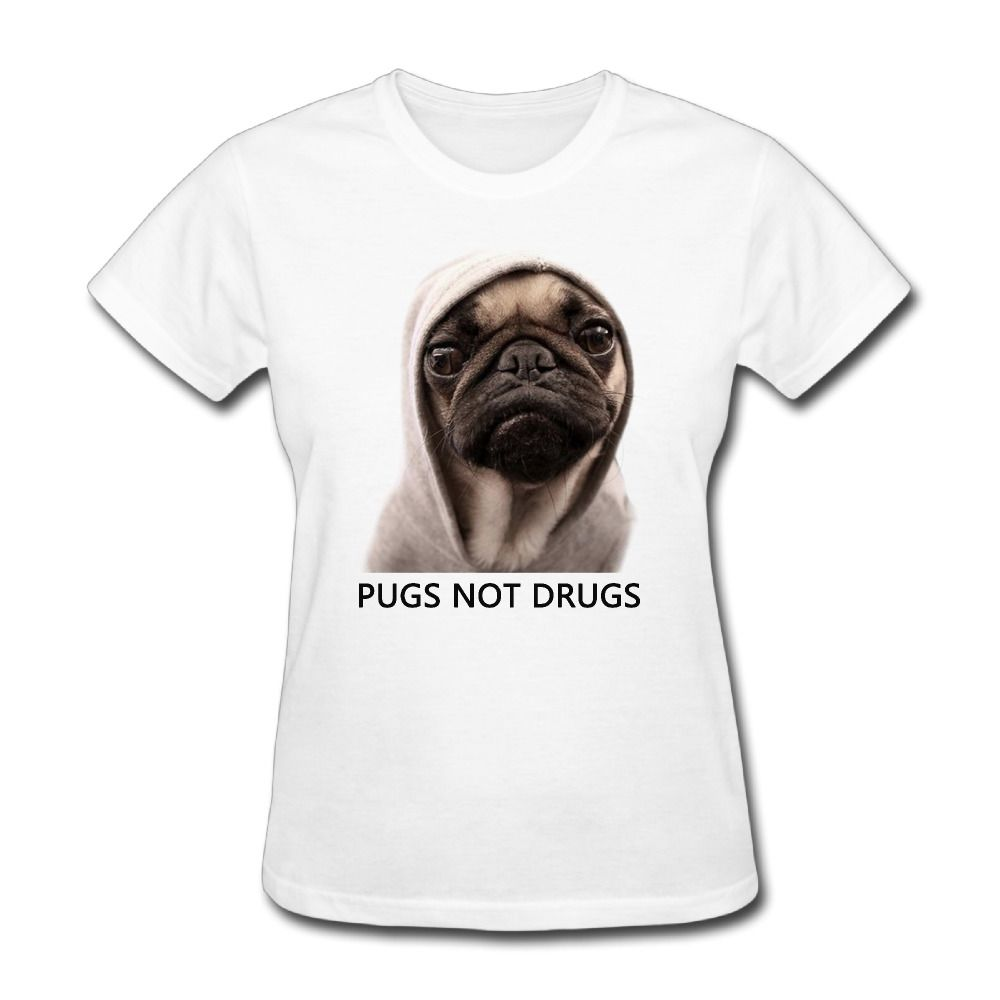 >> Click to Buy << Women's Pugs Not Drugs Funny Funny short sleeve T-shirt unique White #Affiliate