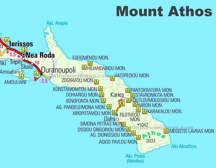 Mount Athos road map Maps Pinterest