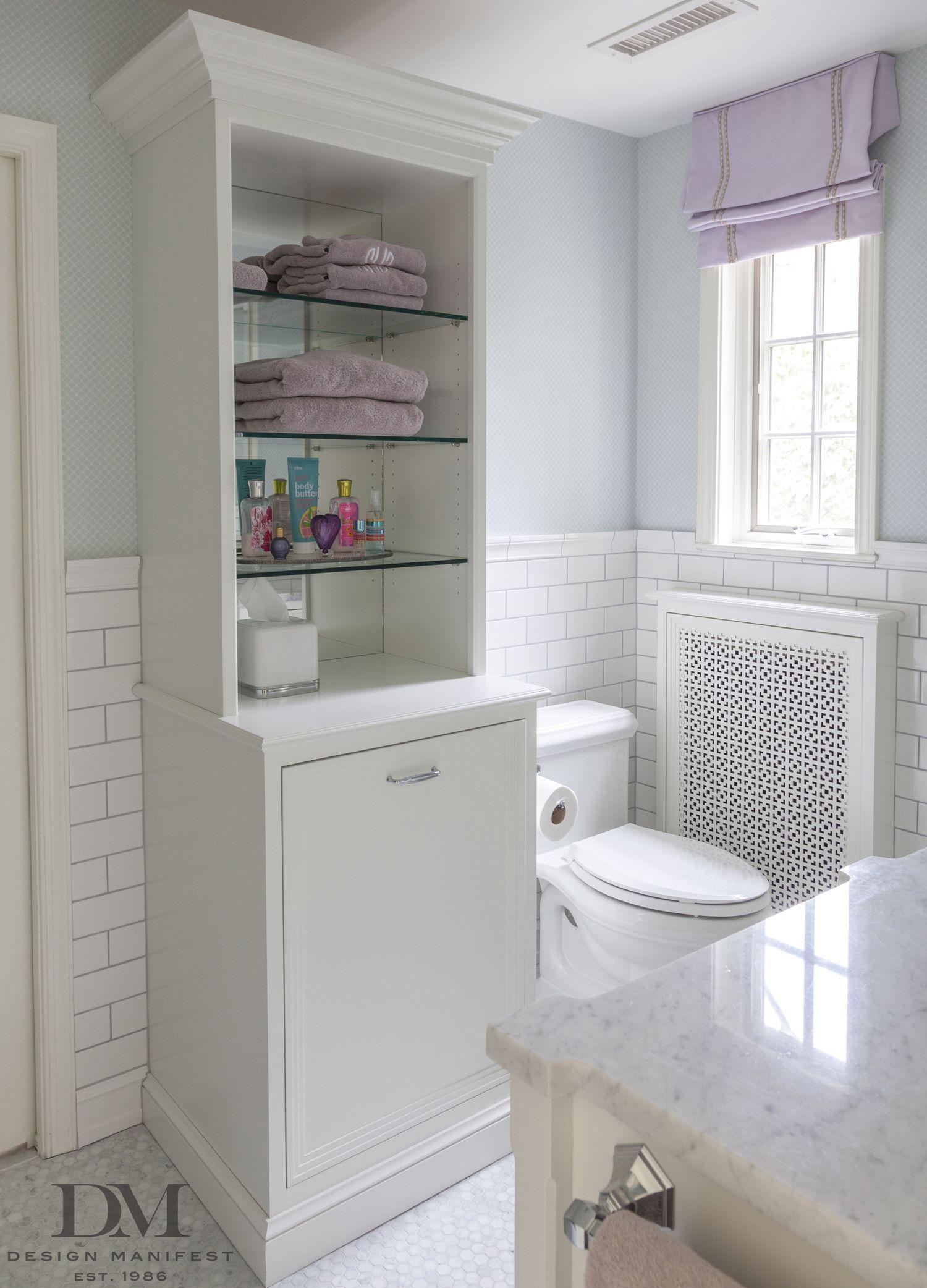 Hamper On Lower Portion Of Cabinetry Bathroom By Design Manifest Floatingshelvesbathroompant Freestanding Bathroom Shelves Shelves Over Toilet Glass Shelves