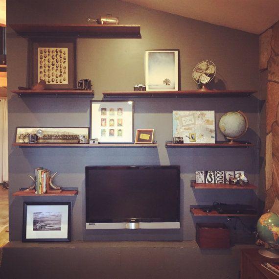 floating shelf slim floating wood shelf with steel bracket design floating shelves wood. Black Bedroom Furniture Sets. Home Design Ideas