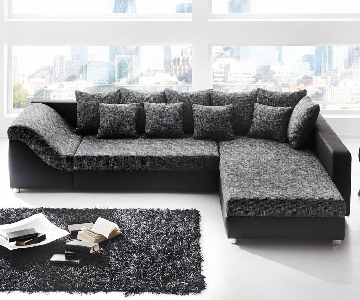 Vente Unique Canapé Connor Canapé D Angle Convertible River Noir Gris Salon Deco Sofa