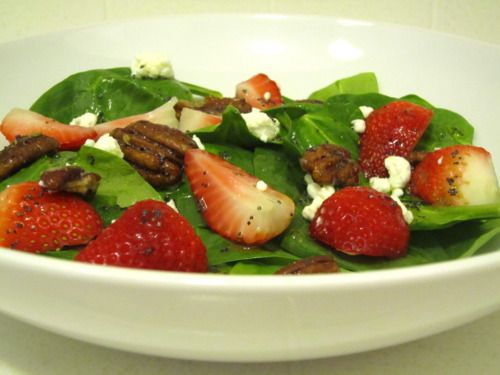 Strawberry Spinach Salad with Poppy Seed Vinaigrette. Had this at Kendall's wedding and went back for seconds!
