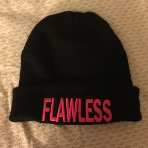 Flawless beanie Black beanie , pink writing Accessories Hats