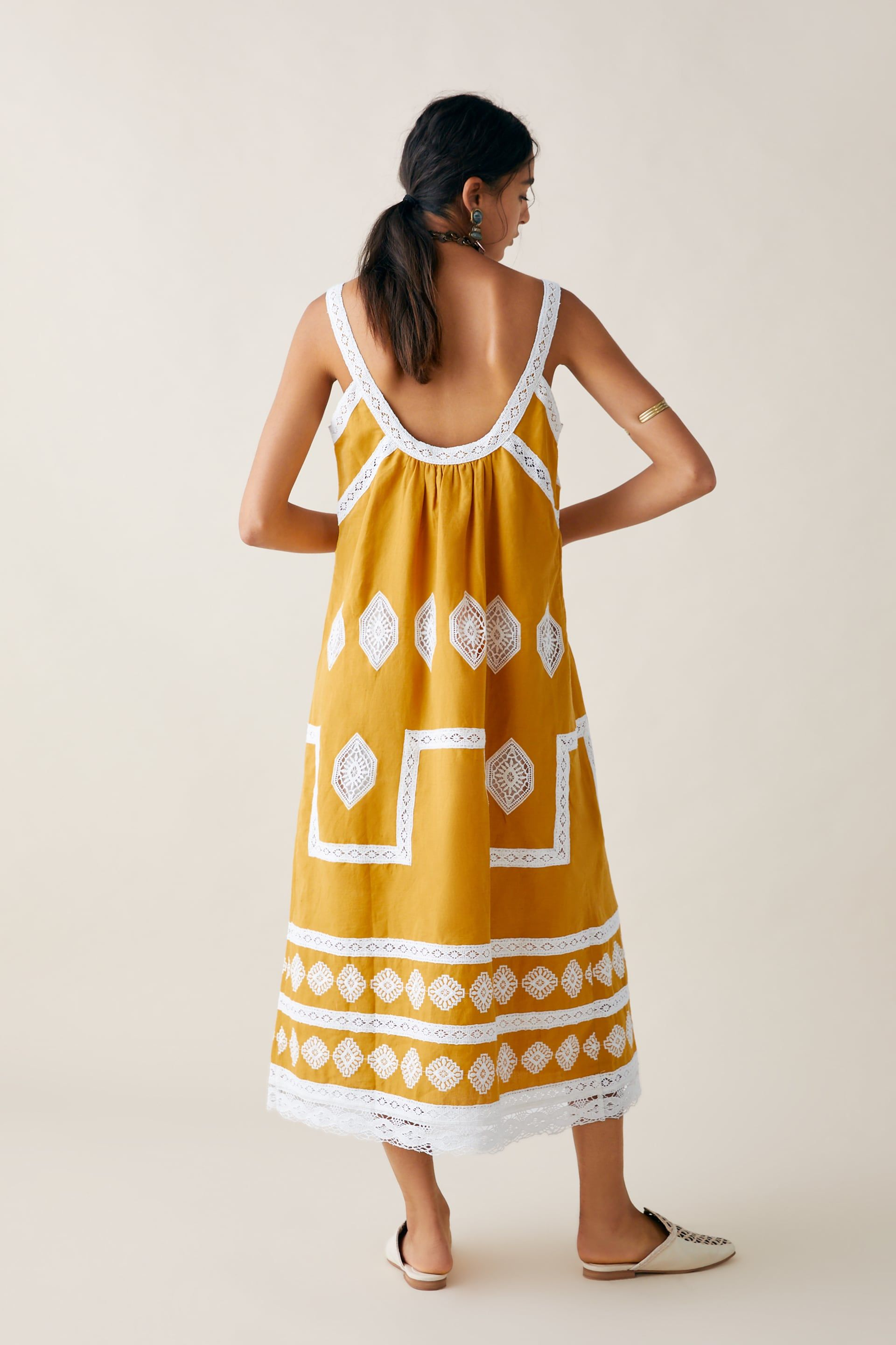 f81fc449 #yellow #dress #springfashiontrends #springfashion #embroidereddress # embroidery #mididress LIMITED EDITION ZARA STUDIO EMBROIDERED DRESS from  Zara