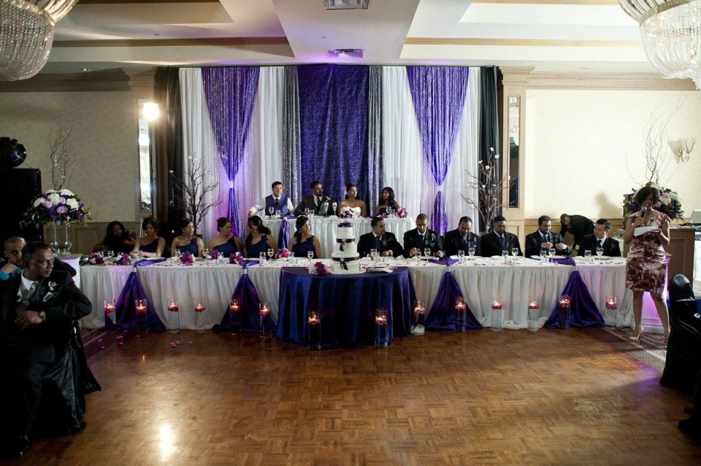 Purple wedding decorations purple black white silver wedding decor head table dcor is amongst the other wedding related issues you should plan before the big day comes junglespirit Image collections