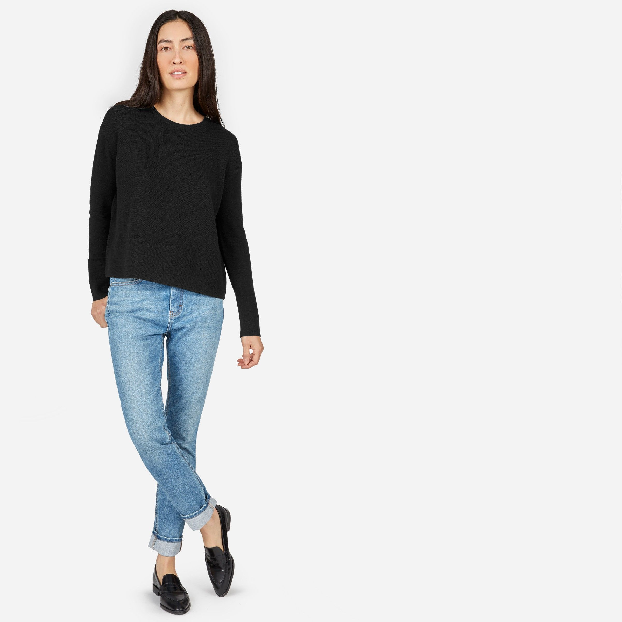 How to take cashmere into spring. We gave our favorite Grade-A cashmere crew a higher neckline and oversized square silhouette, plus paneling at the hem for a textural touch. Refined over a dress, cozy with trousers.